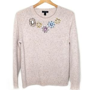 J. Crew Jeweled Donegal Sweater Oatmeal Small